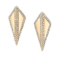 18 Karat Yellow Gold Diamond Contour Isosceles Studs