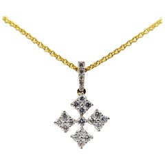 18 Karat Yellow Gold Diamond Cross Necklace