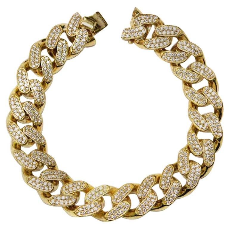 18 Karat Yellow Gold Diamond Cuban Link Bracelet For Sale