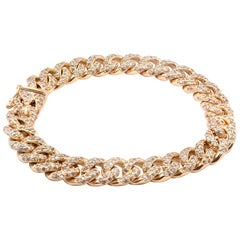 18 Karat Yellow Gold Diamond Cuban Link Bracelet