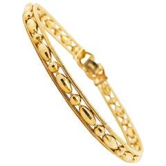18 Karat Yellow Gold Diamond Cut Bead Bracelet