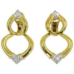 18 Karat Yellow Gold and Diamond Detachable Door Knocker Earrings