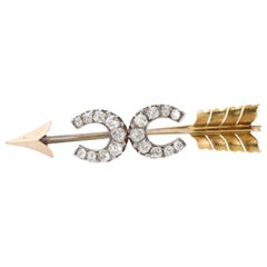 18 Karat Yellow Gold Diamond Double Horseshoe Arrow Brooch