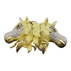 18 Karat Yellow Gold and Diamond Double Unicorn Brooch/Necklace