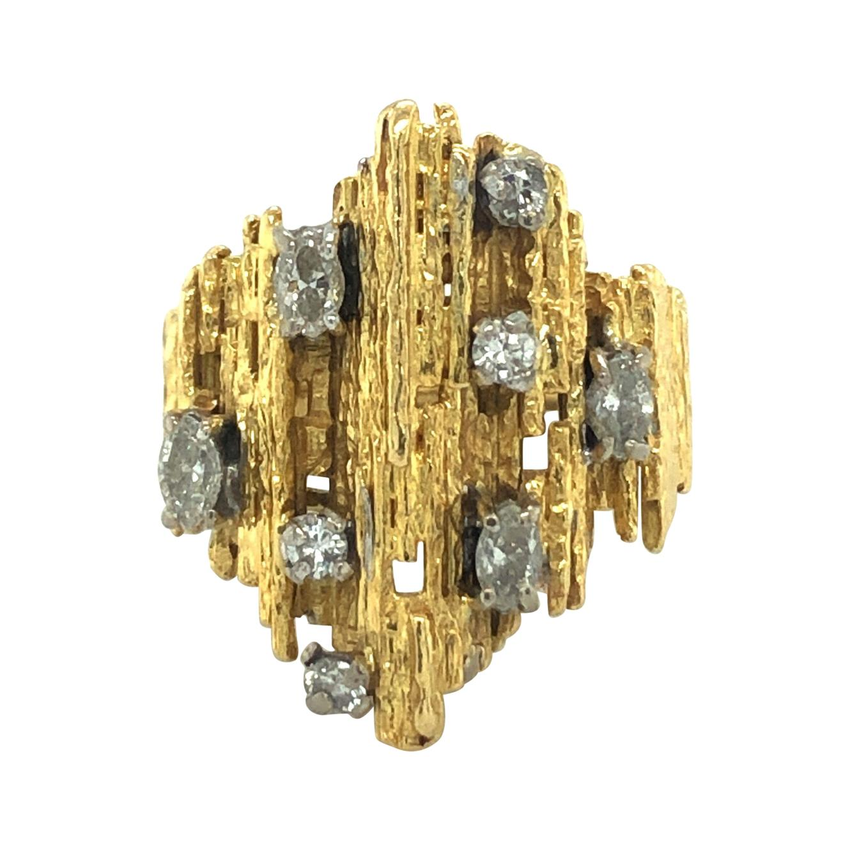 18 Karat Yellow Gold Diamond Dress Ring by Andrew Grima, 1976