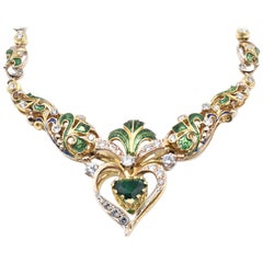 18 Karat Yellow Gold Diamond, Emerald, Blue and Green Enamel Ornate Necklace