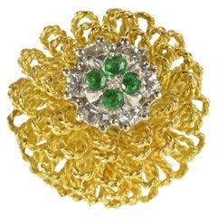 18 Karat Yellow Gold Diamond Emerald Floral Cocktail Ring