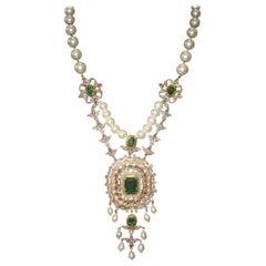 18 Karat Yellow Gold, Diamond, Emerald & Pearl Sautoir