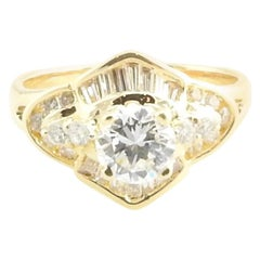 18 Karat Yellow Gold Diamond Engagement Ring