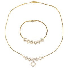 18 Karat Yellow Gold Diamond Est. 4.80 Carat Set Bracelet and Necklace Set