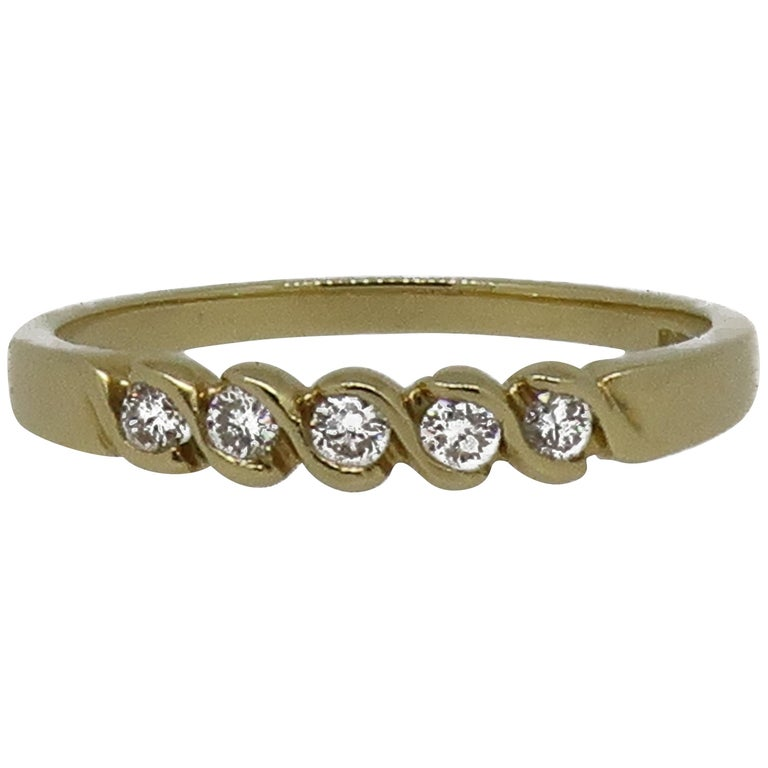 18 Karat Yellow Gold Diamond Eternity Band Ring For Sale
