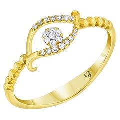 18 Karat Yellow Gold Diamond Evil Eye Beaded Band Ring