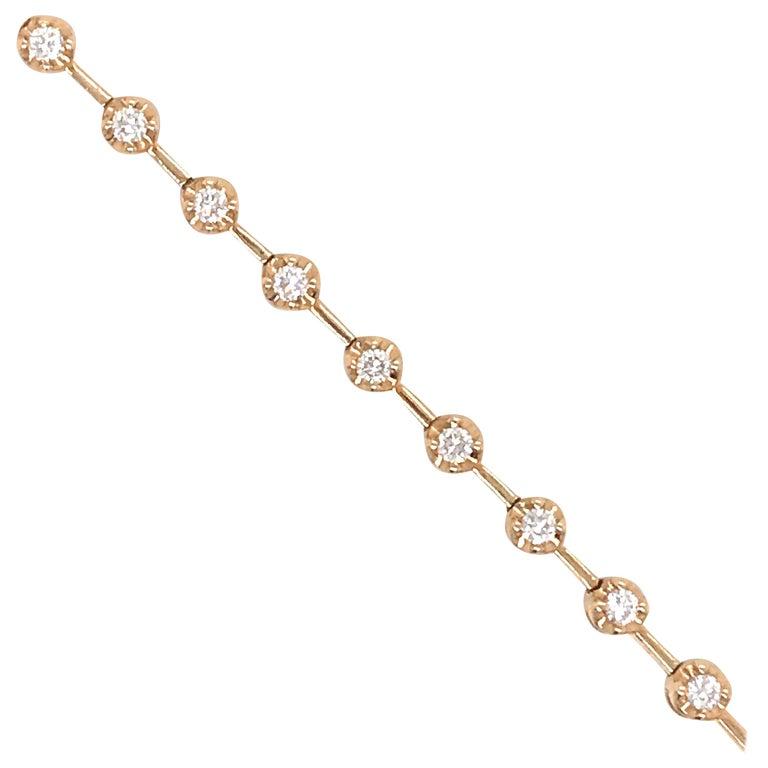 18 Karat Yellow Gold Diamond Floral Tennis Bracelet 0.91 Carat For Sale