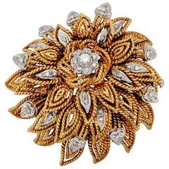 18 Karat Yellow Gold Diamond Flower Brooch