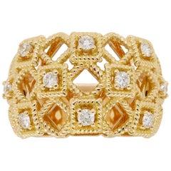 18 Karat Yellow Gold Diamond Geometric Ring