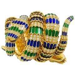 18 Karat Yellow Gold Diamond, Green and Blue Enamel Snake Bracelet