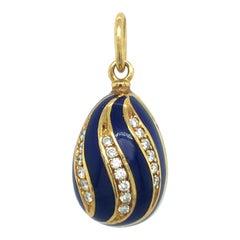18 Karat Yellow Gold Diamond Guilloché Blue Enamel Fabergé Egg Charm/Pendant