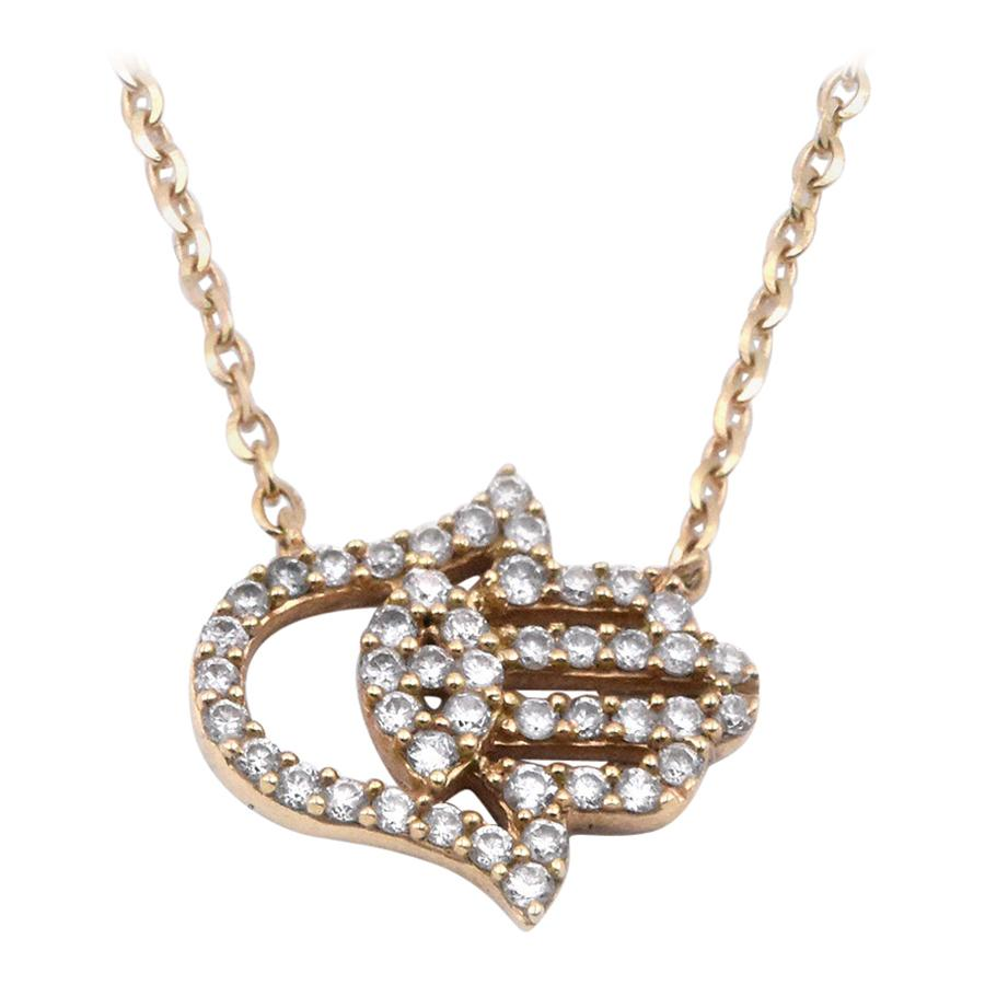 18 Karat Yellow Gold Diamond Hamsa Necklace
