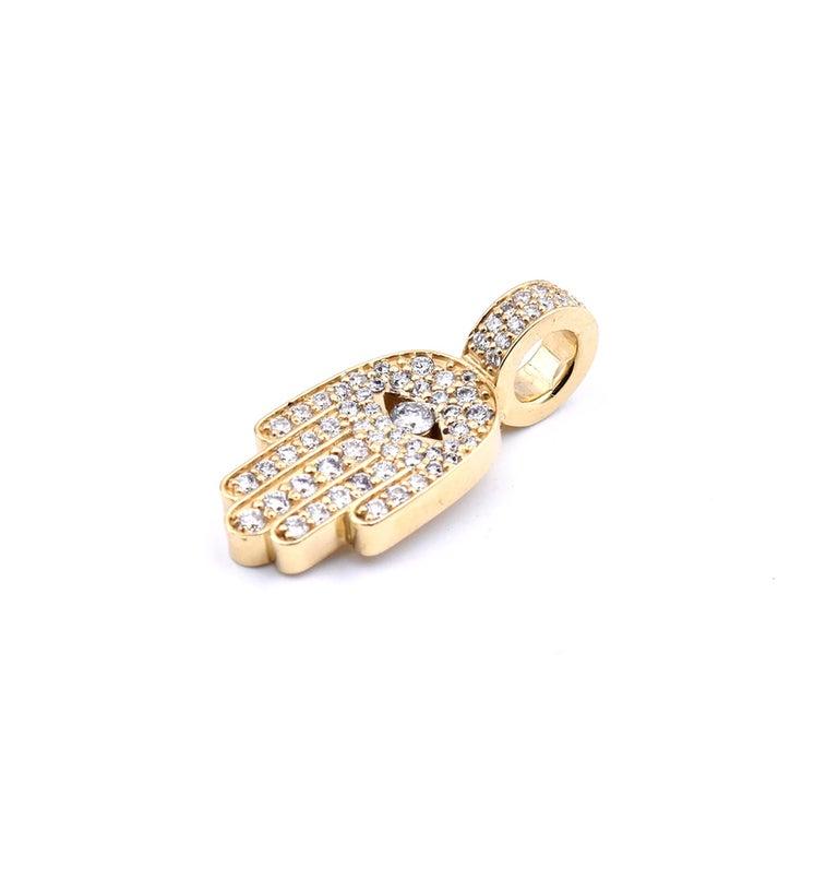 Round Cut 18 Karat Yellow Gold Diamond Hamsa Pendant For Sale