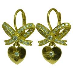 18 Karat Yellow Gold Diamond Heart and Bow Dangle Lever Back Earrings
