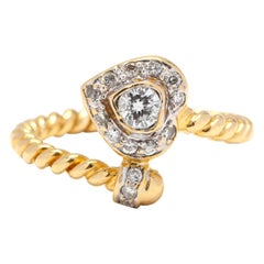 18 Karat Yellow Gold Diamond Heart Ring