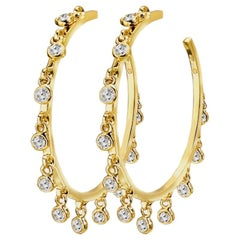 18 Karat Yellow Gold Diamond Hoop Earrings