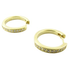 18 Karat Yellow Gold Diamond Hoop Earrings