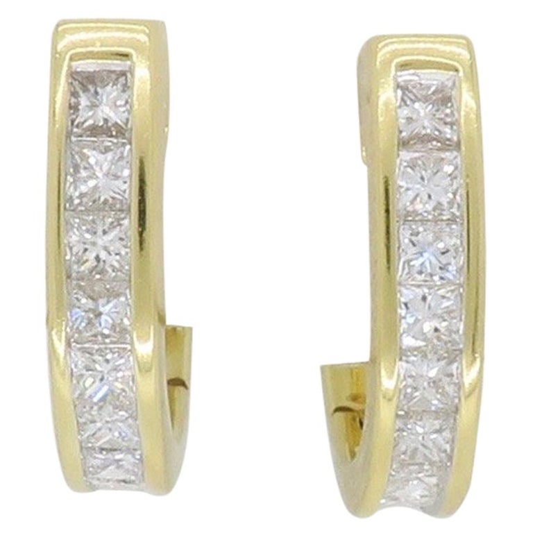 f305328afa7a2 18 Karat Yellow Gold Diamond Huggie Earrings