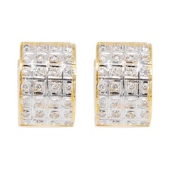 18 Karat Yellow Gold Diamond Huggie Hoop Earrings