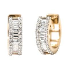 18 Karat Yellow Gold Diamond Huggie Mini-Hoop Earring