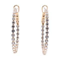 18 Karat Yellow Gold Diamond Inside Outside Hoop Earrings