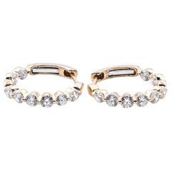 18 Karat Yellow Gold Diamond Inside, Outside Huggie Hoop Earrings