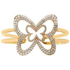 18 Karat Yellow Gold Diamond Large Butterfly Cuff Bangle Bracelet
