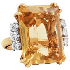18 Karat Yellow Gold Diamond Large Emerald Cut Citrine Cocktail Ring