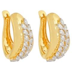18 Karat Yellow Gold Diamond Leaf Earrings