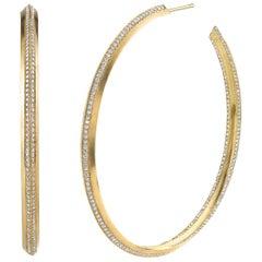 18 Karat Yellow Gold Diamond Line Hoops