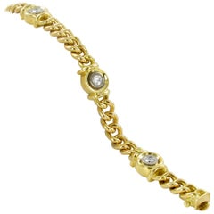 18 Karat Yellow Gold Diamond Link Bracelet