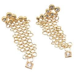 18 Karat Yellow Gold Diamond Mesh Dangle Earrings
