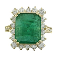 18 Karat Yellow Gold Diamond Natural Deep Emerald Ring for Her