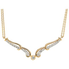 18 Karat Yellow Gold Diamond Necklace with Double Chain