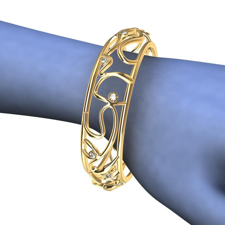 Contemporary 18 Karat Yellow Gold Diamond Oceans Bangle For Sale
