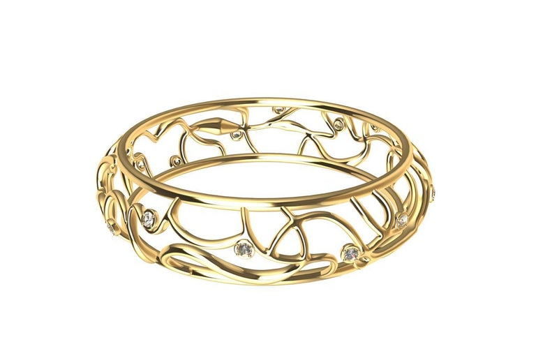 Women's or Men's 18 Karat Yellow Gold Diamond Oceans Bangle For Sale