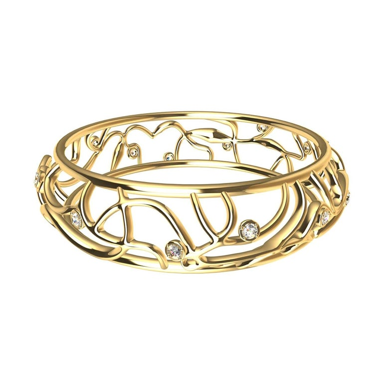 18 Karat Yellow Gold Diamond Oceans Bangle For Sale