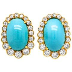 18 Karat Yellow Gold Diamond Oval Persian Turquoise Stud Earrings