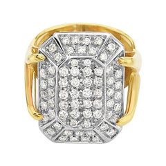 18 Karat Yellow Gold Diamond Pave Cocktail Ring