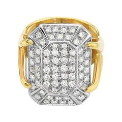 18 Karat Yellow Gold Diamond Pave Cocktail Ring