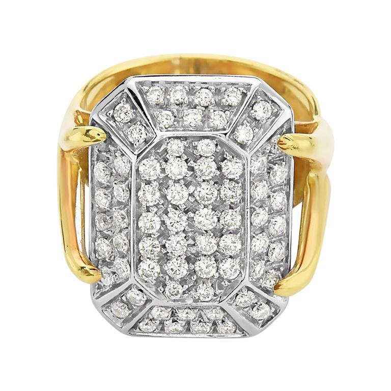 18 Karat Yellow Gold Diamond Pave Cocktail Ring For Sale
