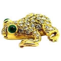 "18 Karat Yellow Gold Diamond Pave ""Frog"" Pendant with Emerald Eyes"