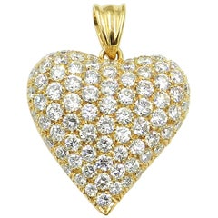 18 Karat Yellow Gold Diamond Pavè Heart Pendant
