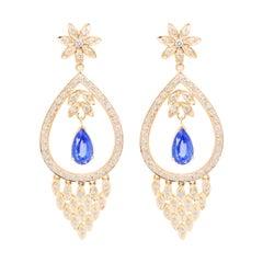 18 Karat Yellow Gold Diamond Pear Blue Sapphire Dangler Dangler Earrings